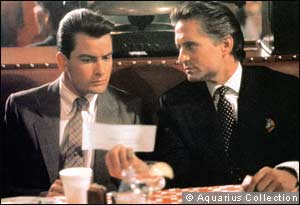Charlie Sheen as Bud Fox and Michael Douglas as Gordon Gekko in 'Wall Street'